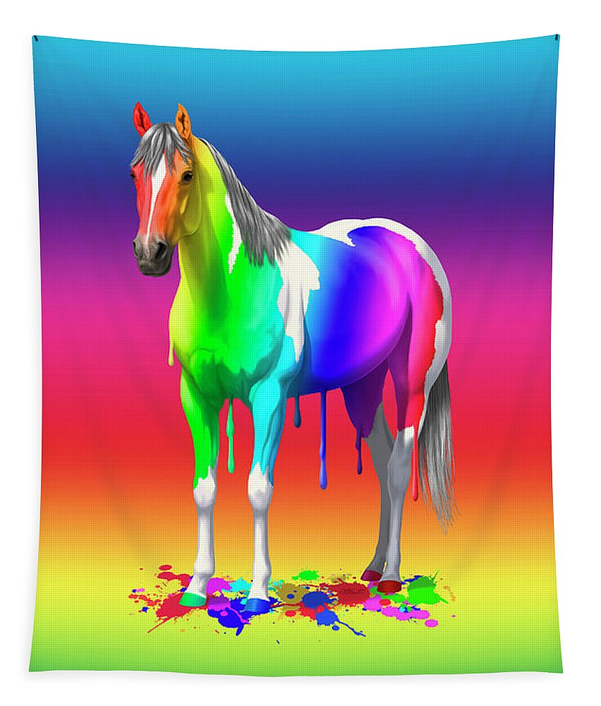 Horses Tapestry featuring the painting Colorful Rainbow Paint Horse by Crista Forest