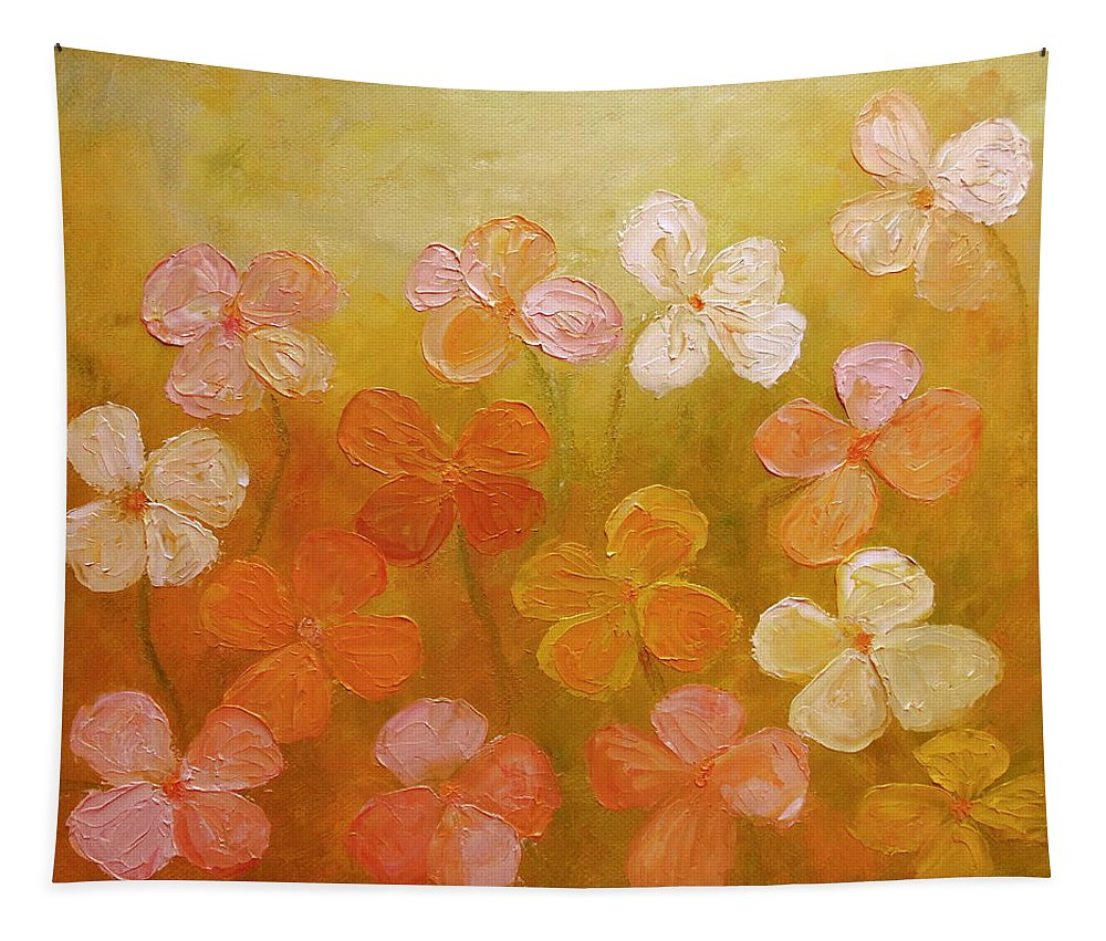 Pink Flowers Tapestry featuring the painting Golden Offspring by Angeles M Pomata