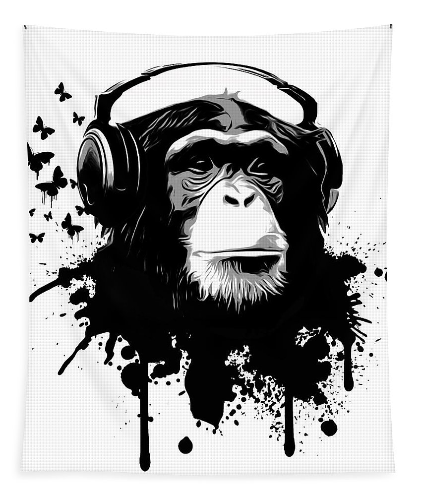 Ape Tapestry featuring the digital art Monkey Business by Nicklas Gustafsson