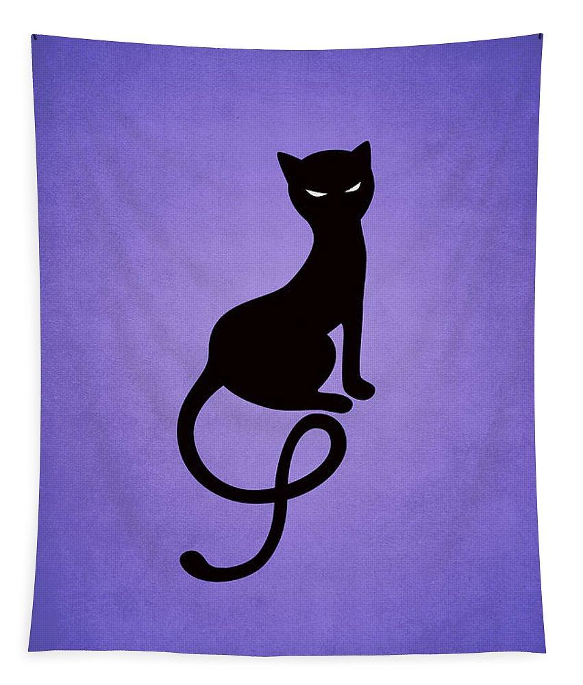Cats Tapestry featuring the digital art Purple Gracious Evil Black Cat by Boriana Giormova