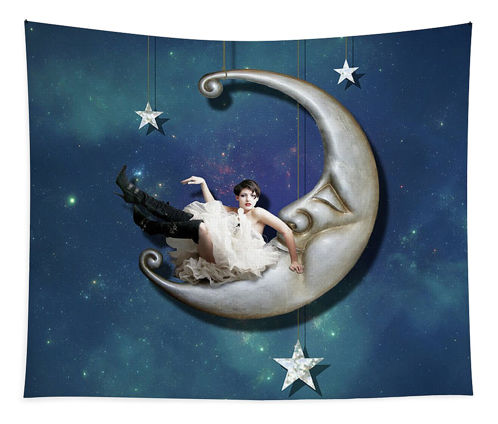 Moon Tapestry featuring the digital art Paper Moon by Linda Lees