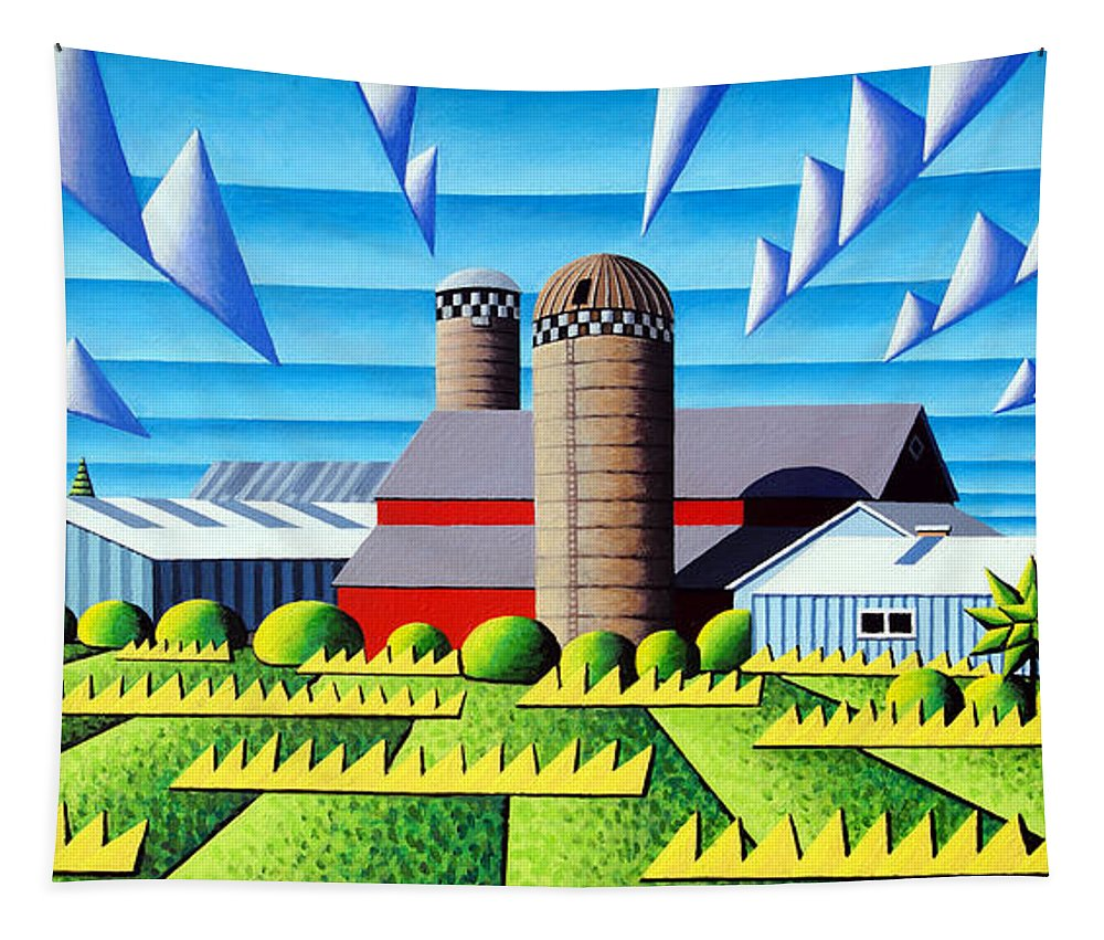 Landscape Tapestry featuring the painting As The Crow Flies by Bruce Bodden