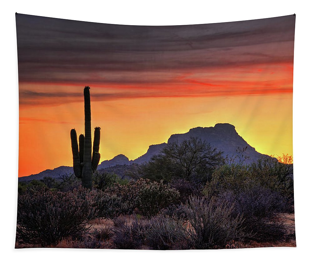 Saguaro Sunset Tapestry featuring the photograph As The Sun Sets On Red Mountain by Saija Lehtonen
