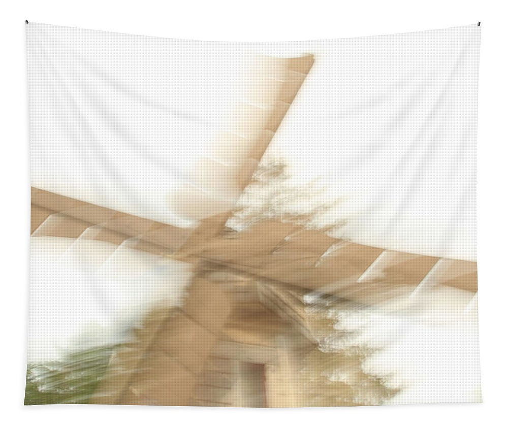 Windmill Tapestry featuring the photograph As The Windmill Spins by Karol Livote