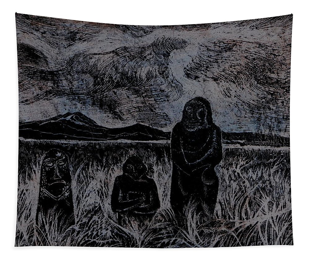 Graphica Tapestry featuring the drawing Asia.gone With The Wind by Anna Duyunova
