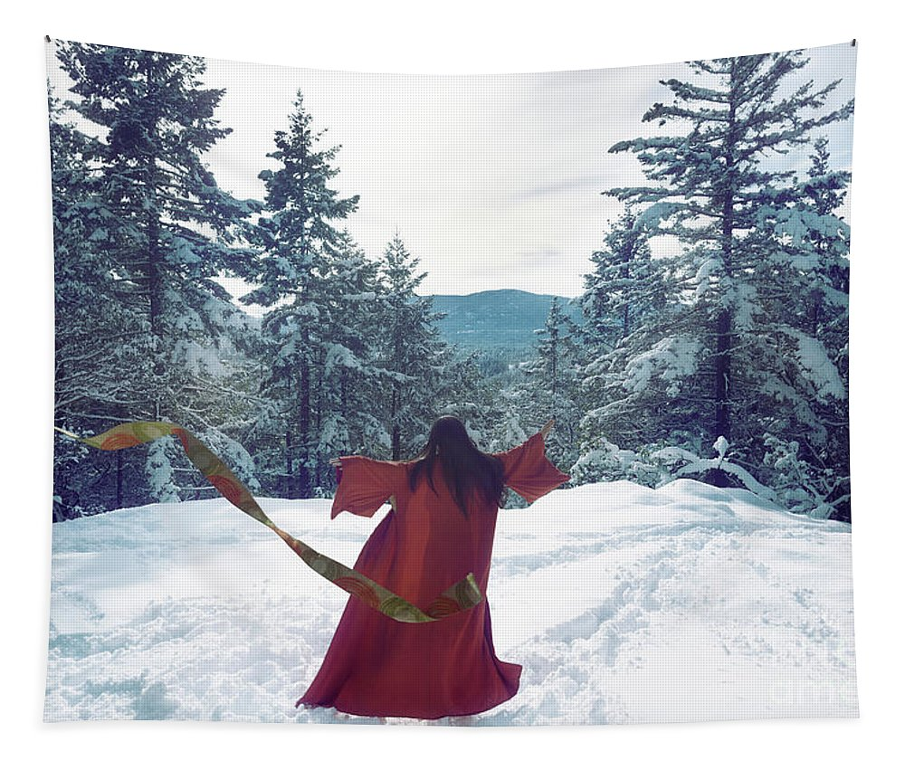 Snow Tapestry featuring the photograph Asian Woman In Red Kimono Dancing On The Snow In The Forest by Awen Fine Art Prints