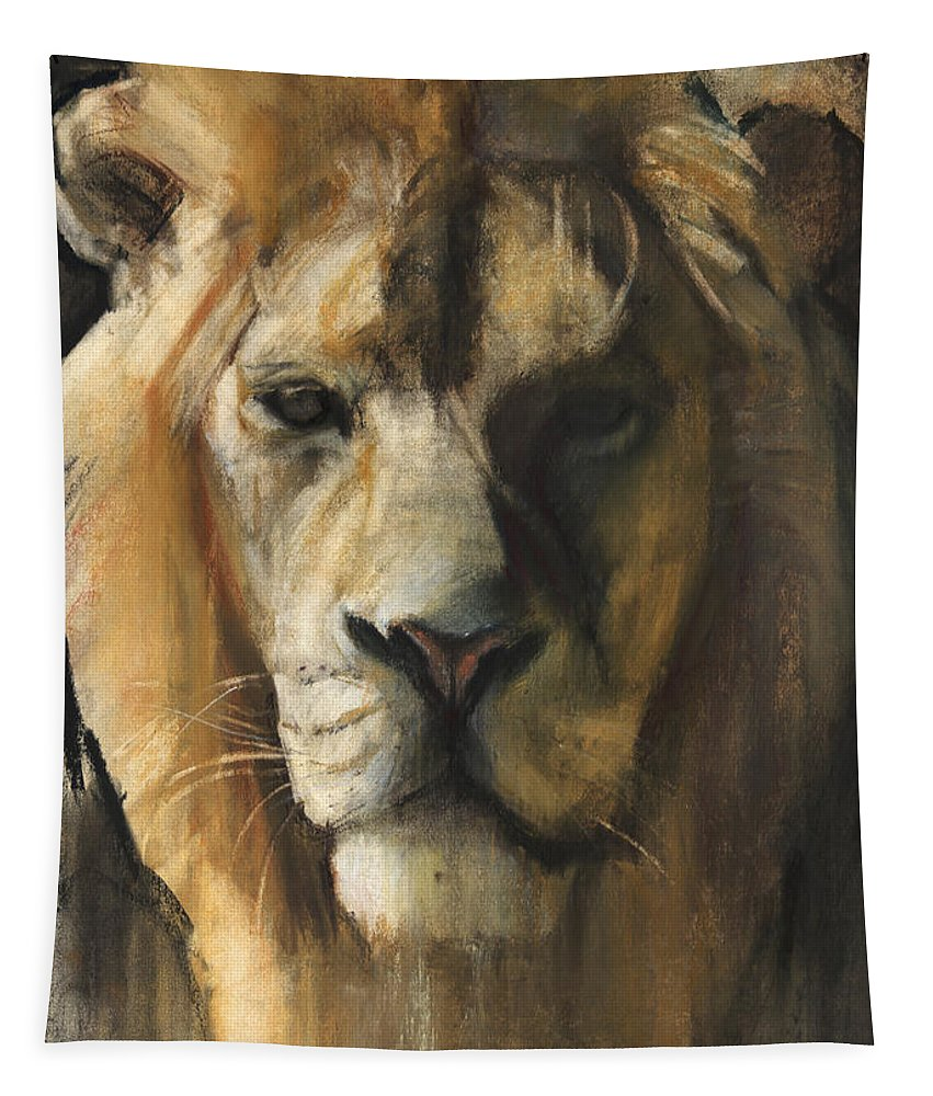 Lion Tapestry featuring the painting Asiatic Lion by Mark Adlington