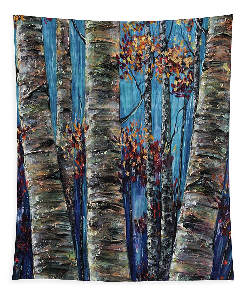 Artolena.com Tapestry featuring the painting Aspen Forest In The Rocky Mountain by OLena Art Brand