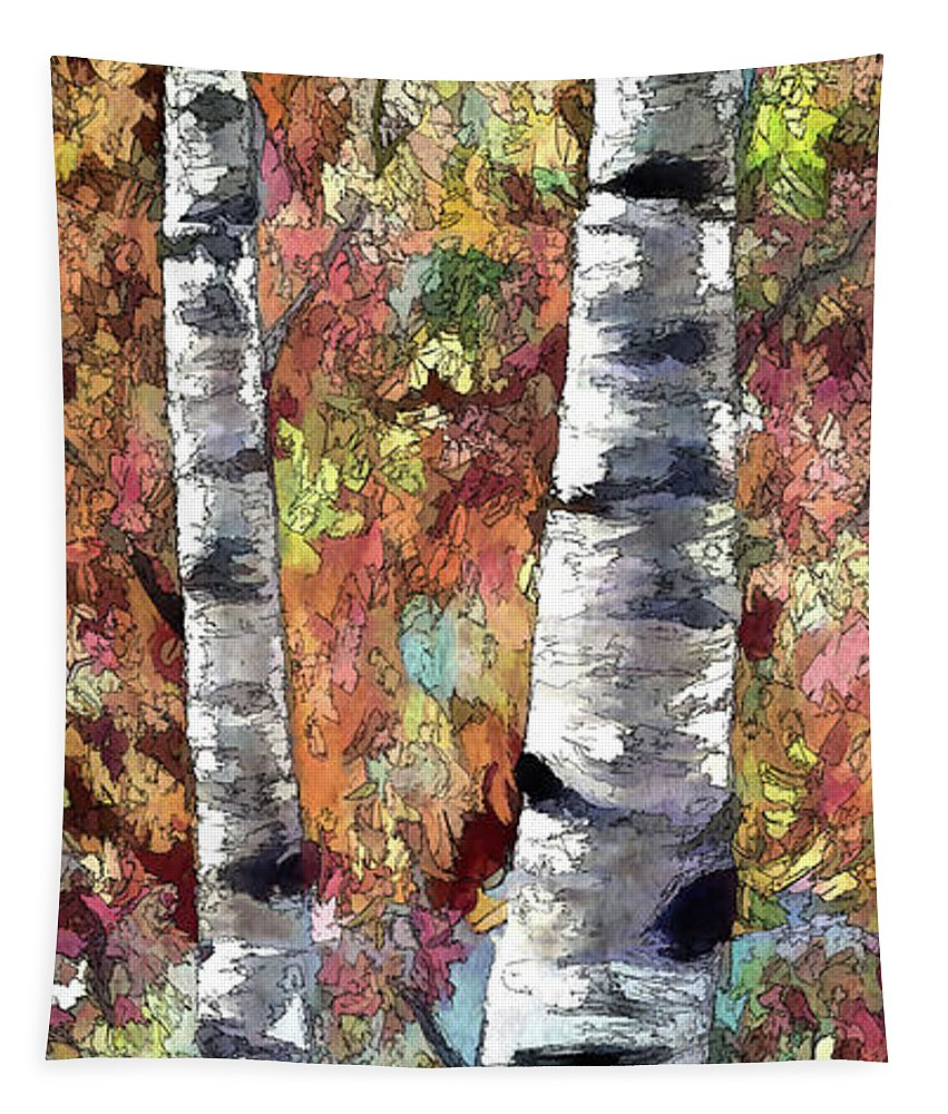 Aspen Trees Tapestry featuring the painting Aspen Trees by OLena Art Brand