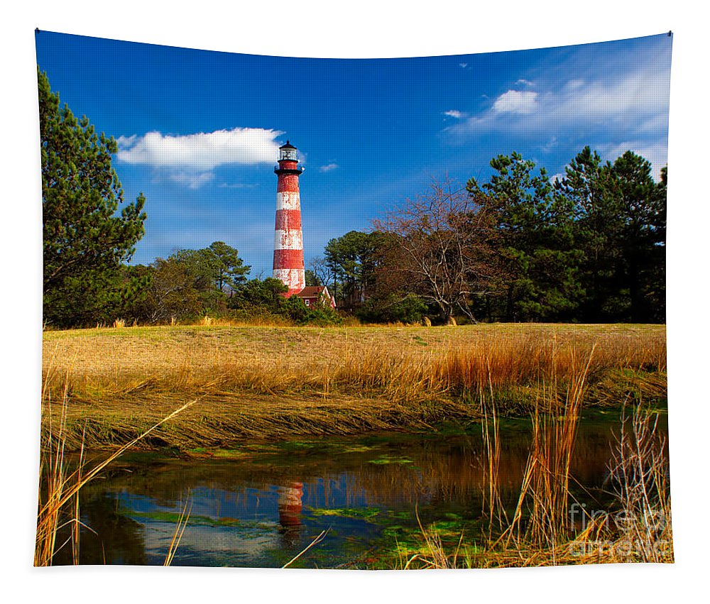 American Tapestry featuring the photograph Assateague Lighthouse Reflection by Nick Zelinsky