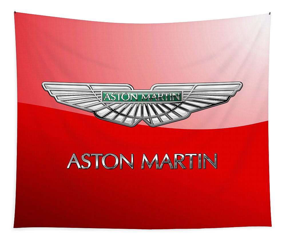 Wheels Of Fortune� Collection By Serge Averbukh Tapestry featuring the photograph Aston Martin - 3 D Badge on Red by Serge Averbukh