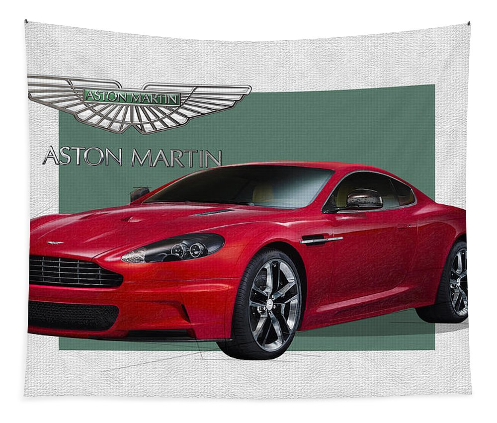�aston Martin� By Serge Averbukh Tapestry featuring the photograph Aston Martin D B S V 12 with 3 D Badge by Serge Averbukh