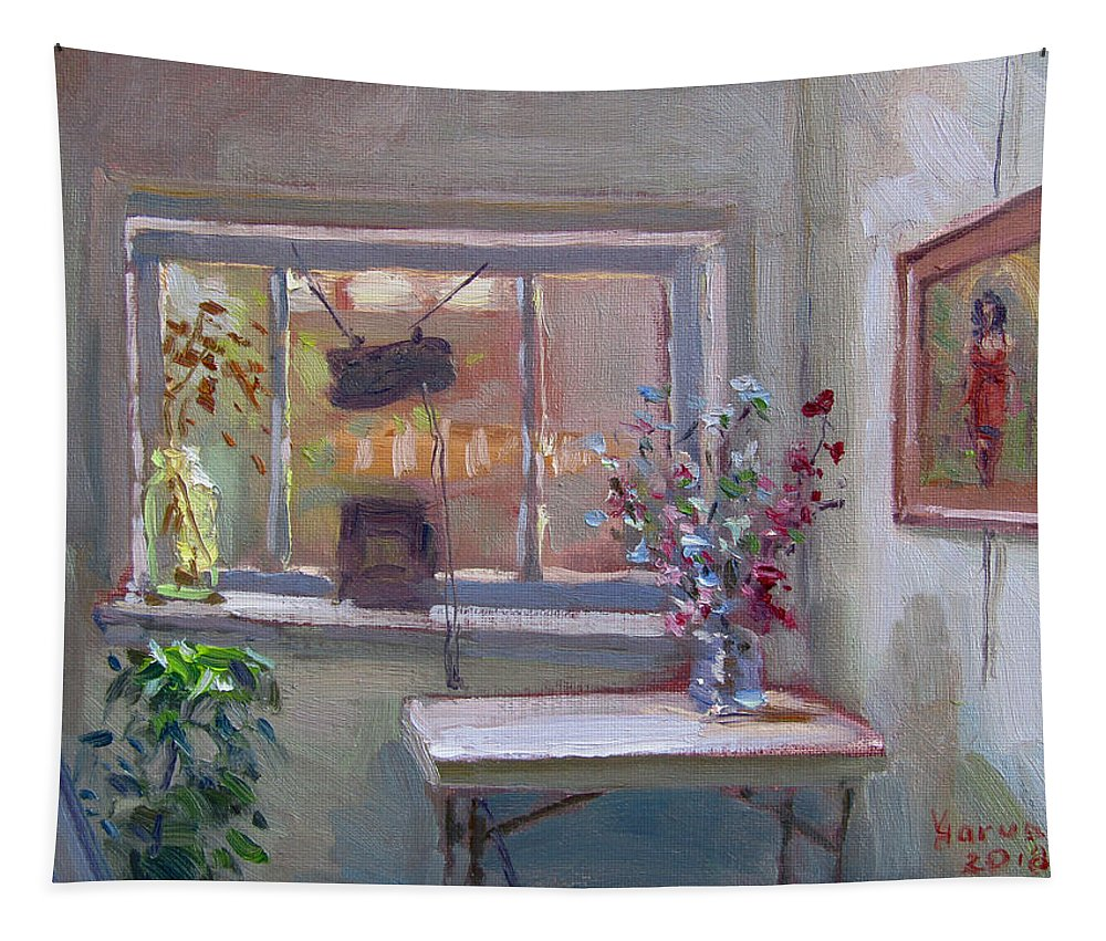 Interior Tapestry featuring the painting At River Art Gallery by Ylli Haruni
