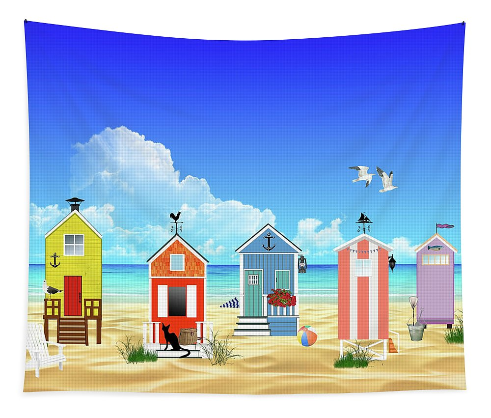 Beach Tapestry featuring the digital art At The Beach by Movie Poster Prints