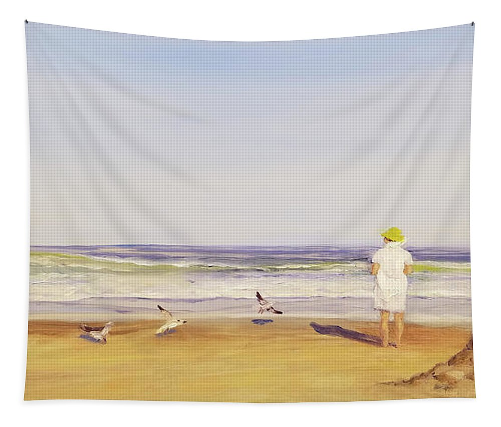 Beach Tapestry featuring the painting At The Beach by Susan E Hanna