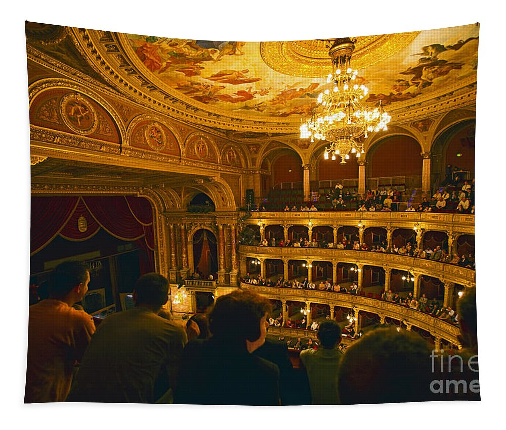 Opera House Tapestry featuring the photograph At The Budapest Opera House by Madeline Ellis