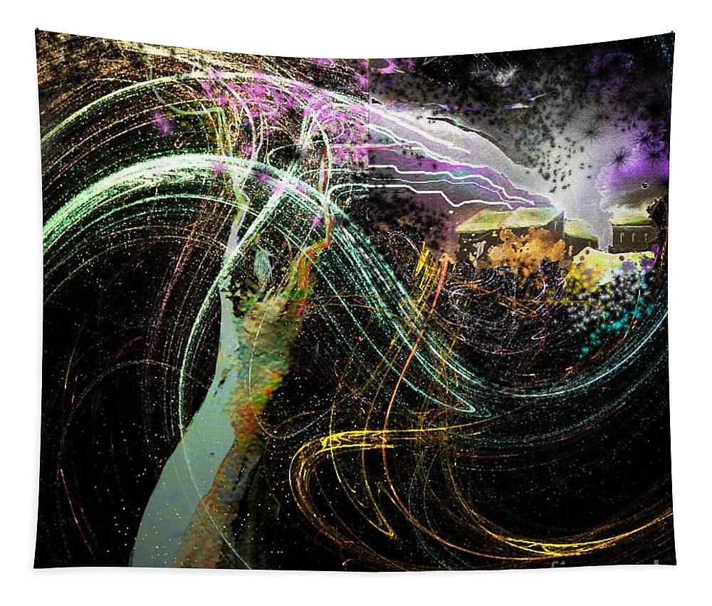 Fantasy Tapestry featuring the painting At The End Of The Cosmos by Miki De Goodaboom