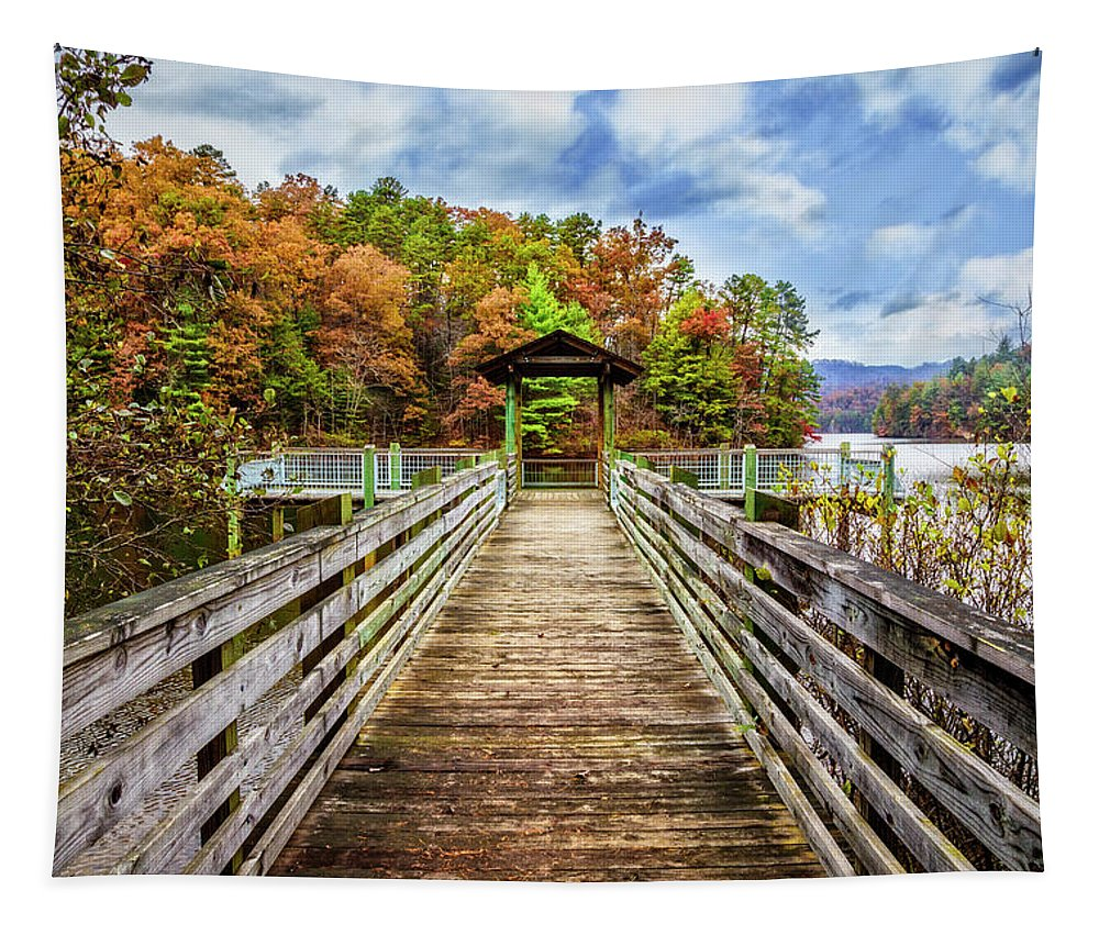 Appalachia Tapestry featuring the photograph At The End Of The Dock by Debra and Dave Vanderlaan