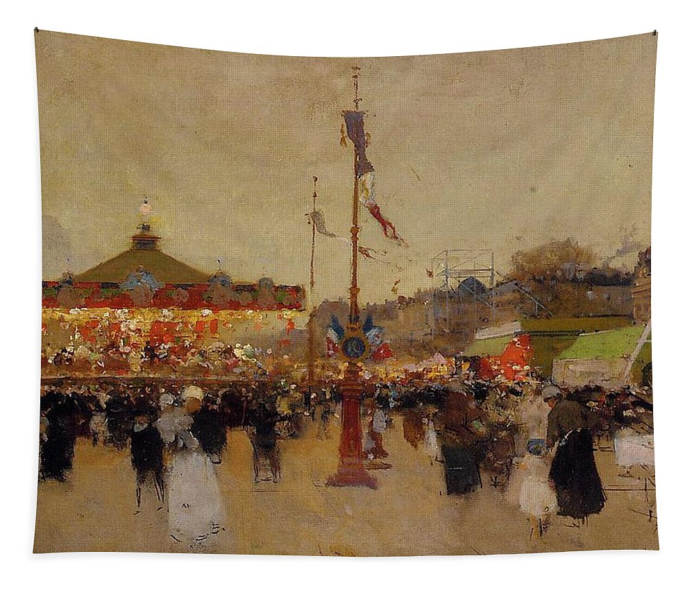 At The Fair (oil On Canvas) By Luigi Loir (1845-1916) Fair; Fairground; Fete; Carousel; Merry-go-round; Figures; Crowd; Crowds; France; French; Flag; Flags; Tricolour; Impressionist; Impressionism; Attraction Tapestry featuring the painting At The Fair by Luigi Loir