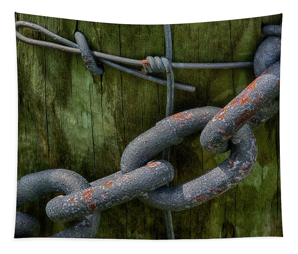 Fence Tapestry featuring the photograph At The Fence Gate - Chain, Wire, And Post by Mitch Spence