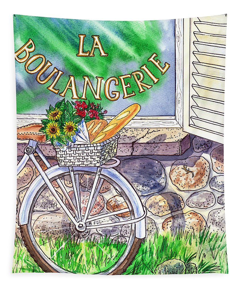 Window Tapestry featuring the painting At The French Bakery by Irina Sztukowski