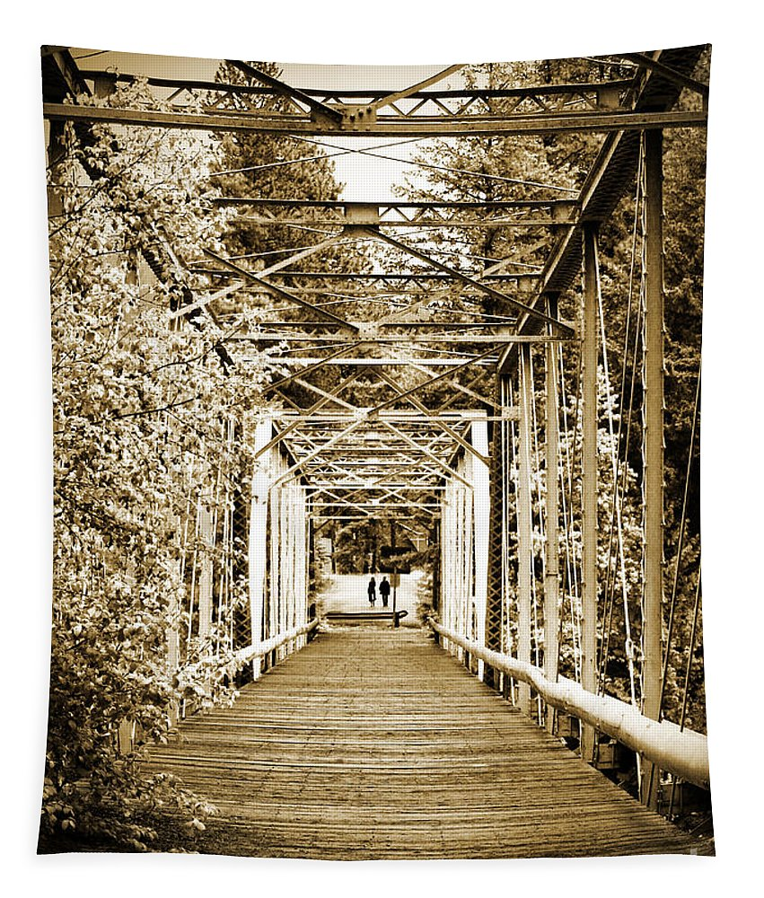 Bridge Tapestry featuring the photograph At The Other End Of The Old Bridge by Tara Turner