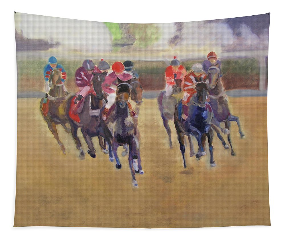 Horses Tapestry featuring the painting At The Races by Gail Eisenfeld