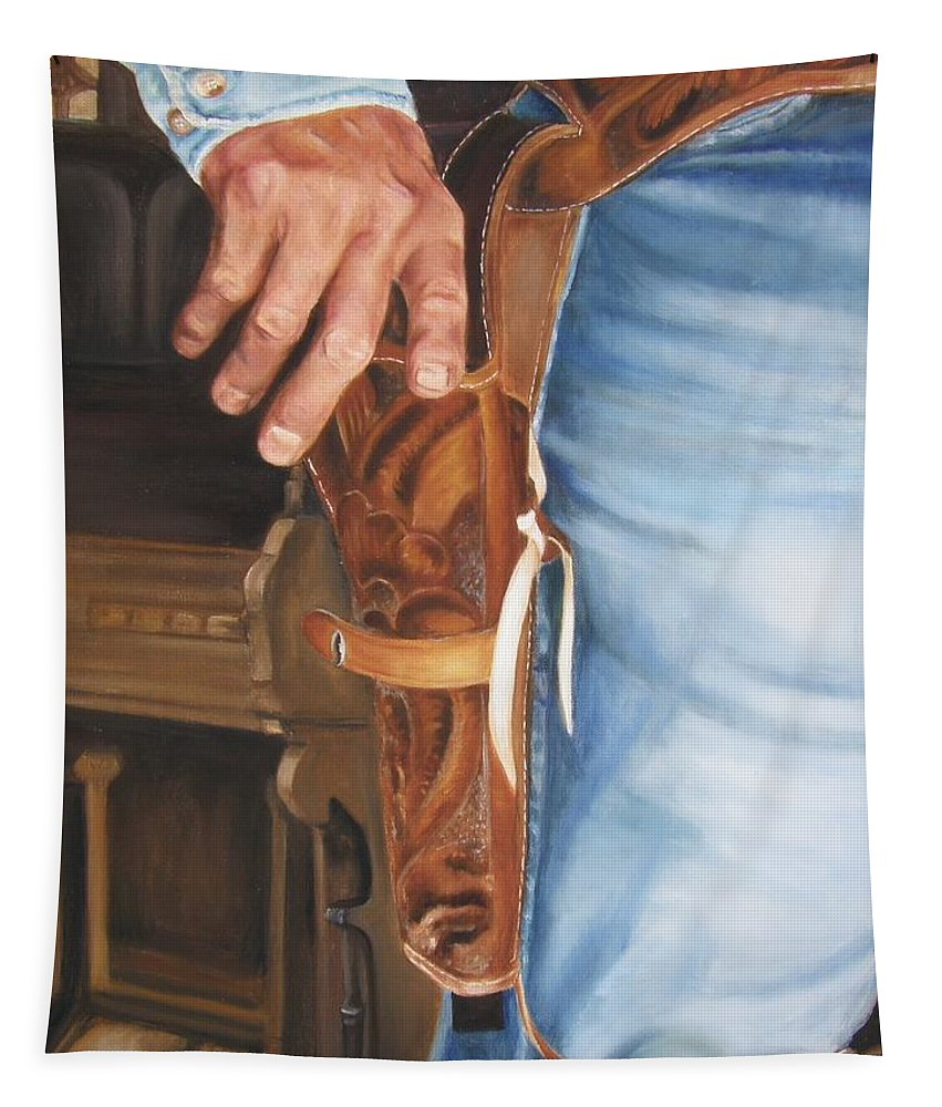 Cowboy Tapestry featuring the painting At The Ready by Lori Brackett