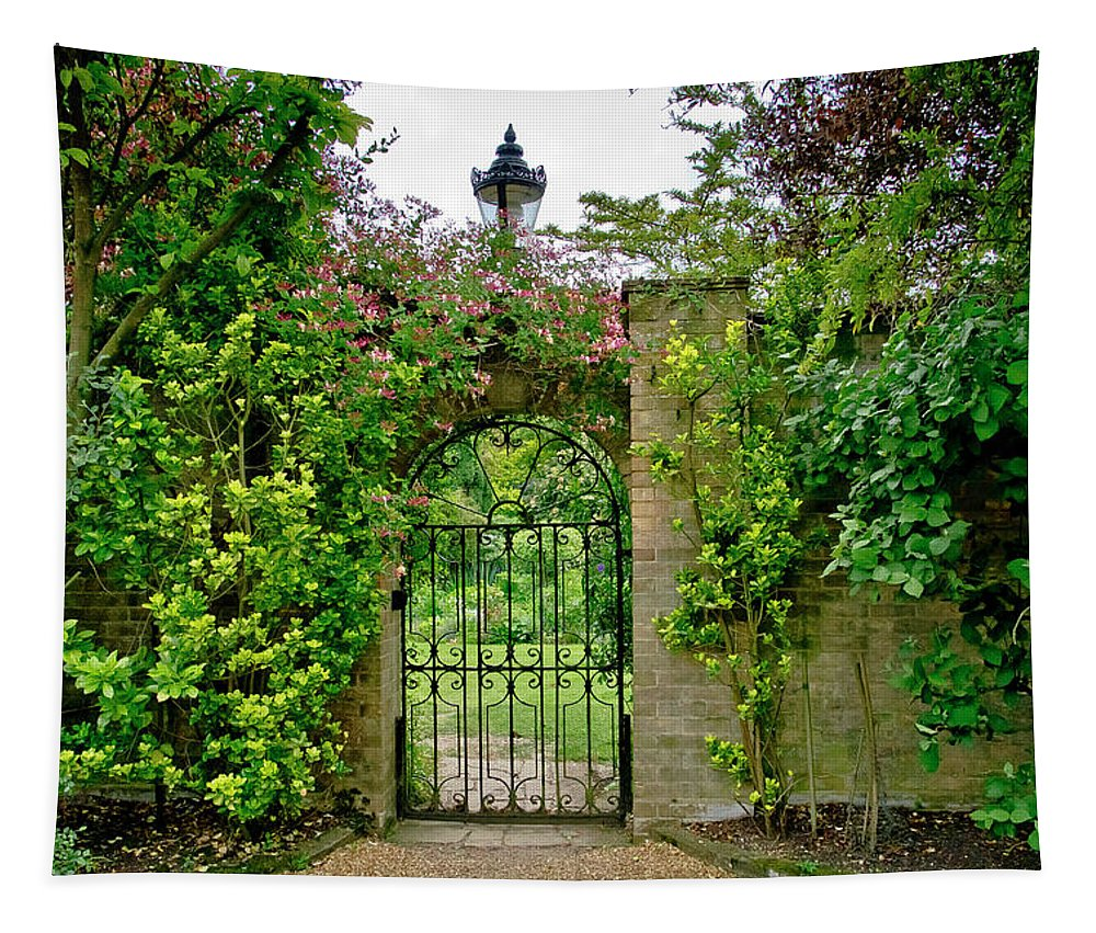 Cambridge Tapestry featuring the photograph At The Secrete Gate To The Garden. by Elena Perelman