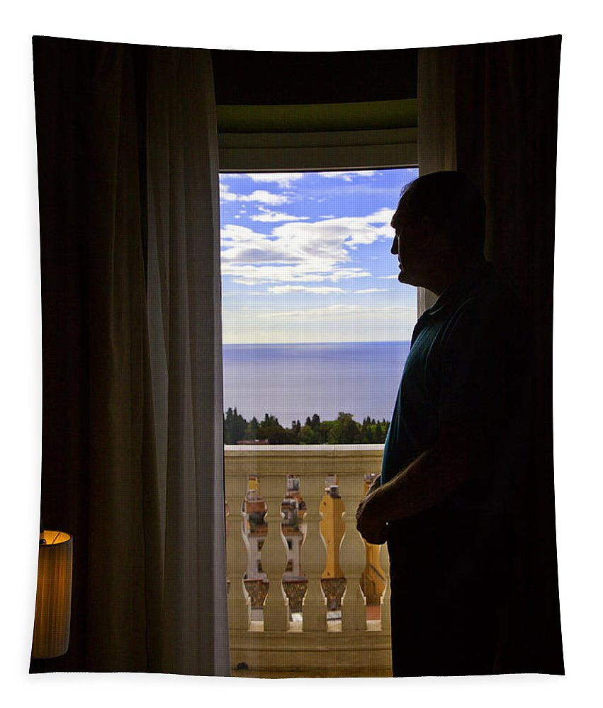 Window Tapestry featuring the photograph At The Window In Taormina by Madeline Ellis