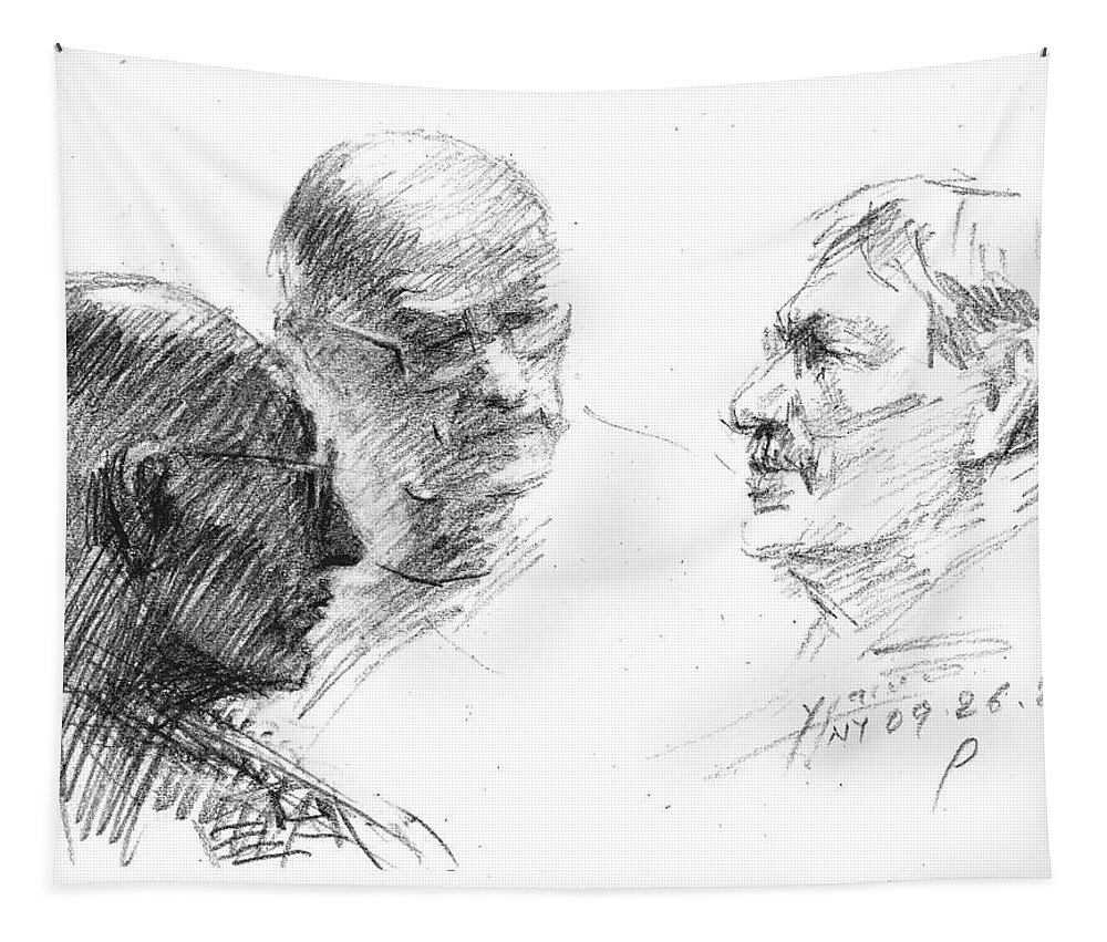 Sketch Tapestry featuring the drawing At Tim Hortons 2 by Ylli Haruni