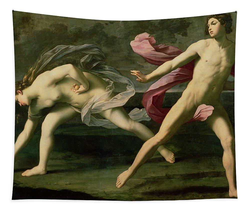 Atalanta And Hippomenes Tapestry featuring the painting Atalanta And Hippomenes by Guido Reni