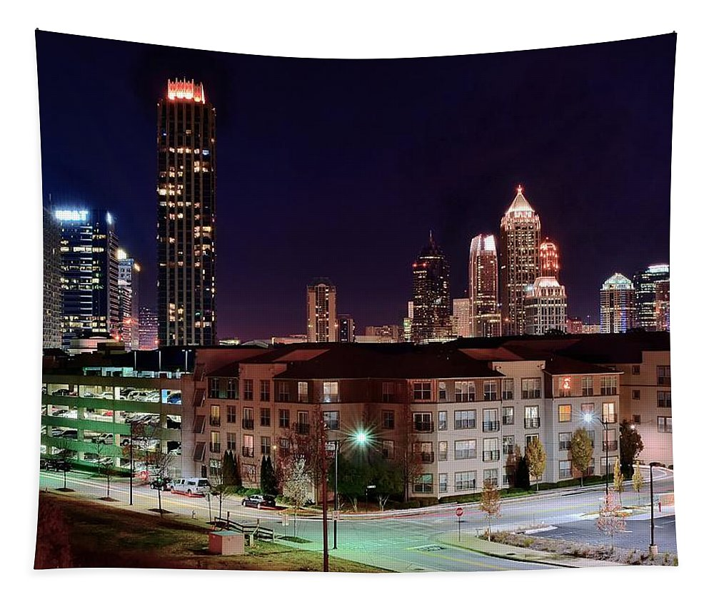 Atlanta Tapestry featuring the photograph Atlanta From Above by Frozen in Time Fine Art Photography