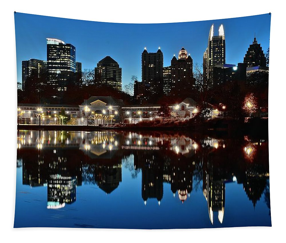 Atlanta Tapestry featuring the photograph Atlanta Reflects by Frozen in Time Fine Art Photography