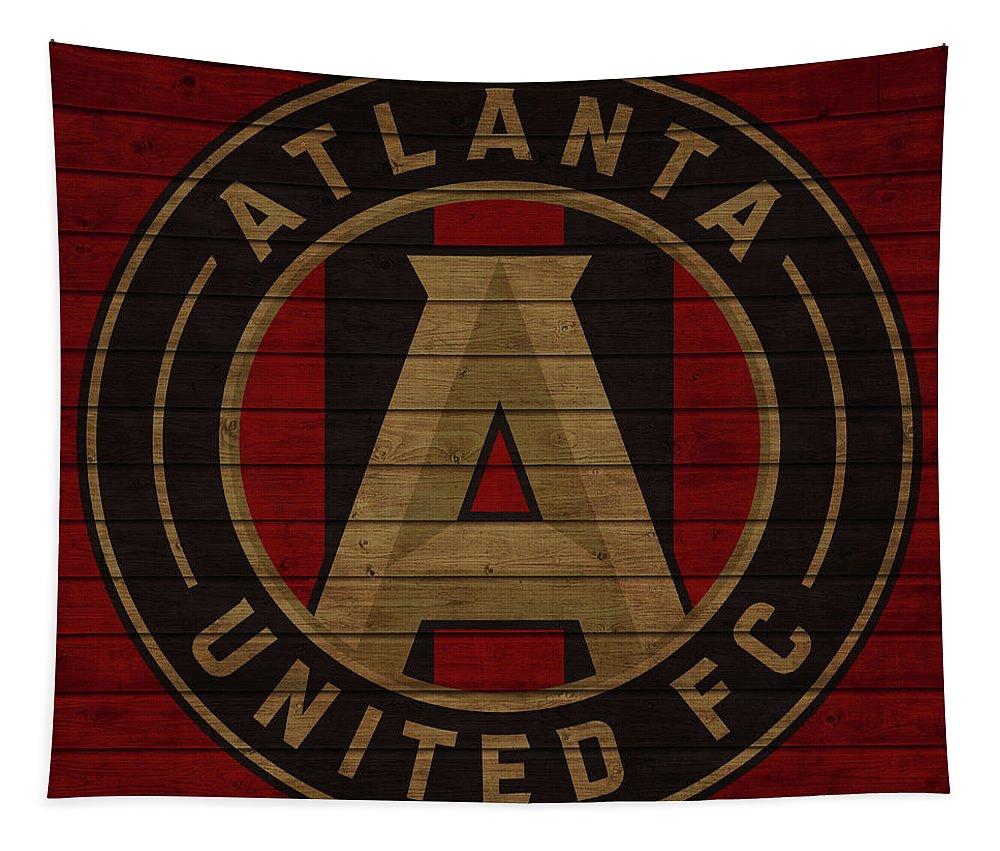 Atlanta United Tapestry featuring the mixed media Atlanta United Barn Door by Dan Sproul