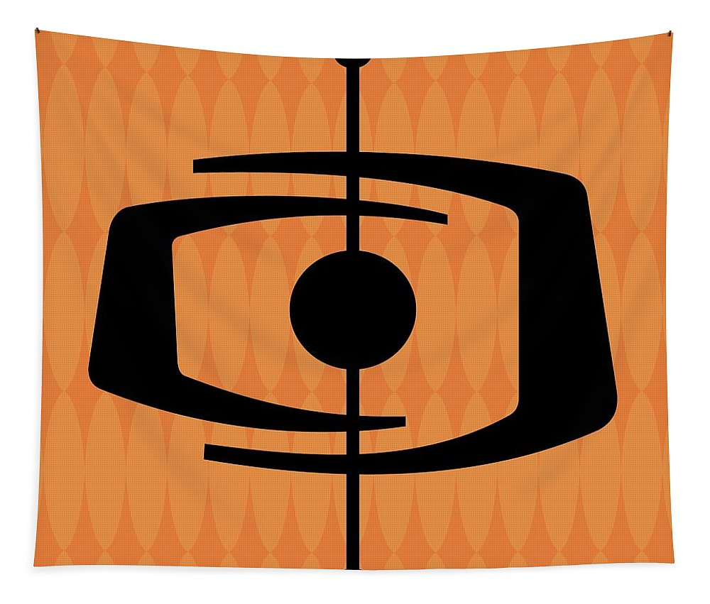 Tapestry featuring the digital art Atomic Shape 1 On Orange by Donna Mibus