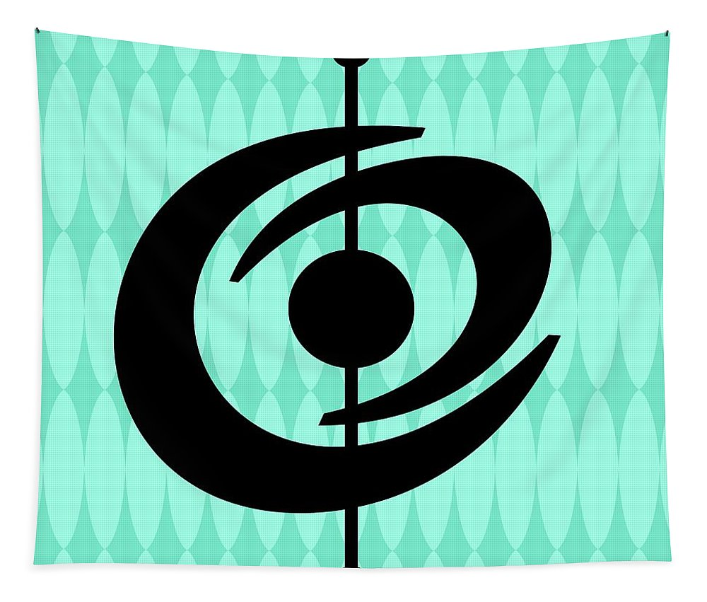 Mid Century Modern Tapestry featuring the digital art Atomic Shape 2 On Aqua by Donna Mibus
