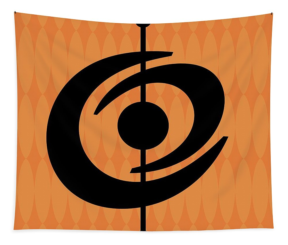 Tapestry featuring the digital art Atomic Shape 2 On Orange by Donna Mibus