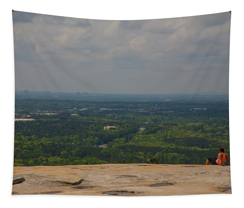 Atop Of Stone Mountain Tapestry featuring the photograph Atop Of Stone Mountain by Karol Livote