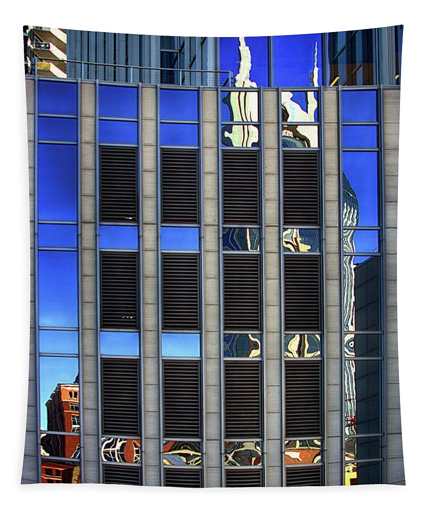 Abstract Tapestry featuring the photograph Att Building Reflection by Tom Gari Gallery-Three-Photography