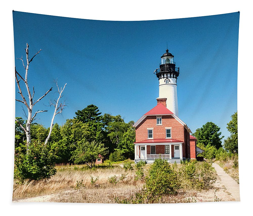 Au Sable Point Lighthouse Tapestry featuring the photograph Au Sable Point Lighthouse by Phyllis Taylor