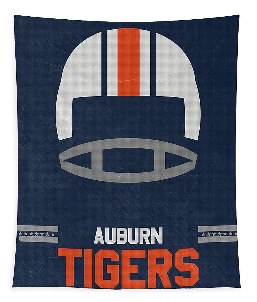 Tigers Tapestry featuring the mixed media Auburn Tigers Vintage Football Art by Joe Hamilton