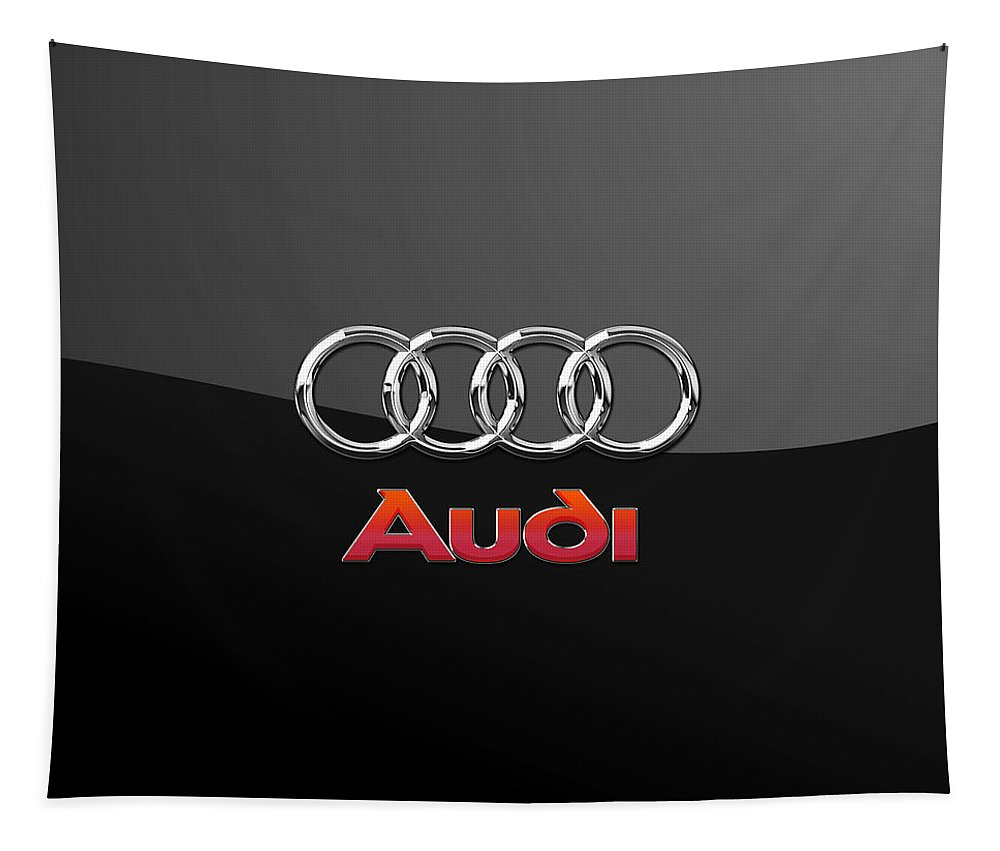 'wheels Of Fortune' Collection By Serge Averbukh Tapestry featuring the photograph Audi 3 D Badge on Black by Serge Averbukh