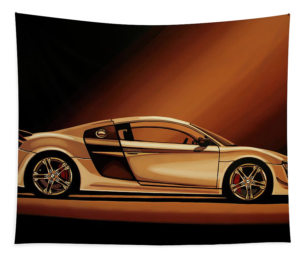 Audi R8 Tapestry featuring the painting Audi R8 2007 Painting by Paul Meijering