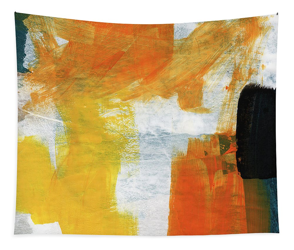 Abstract Tapestry featuring the painting August- Abstract Art by Linda Woods. by Linda Woods