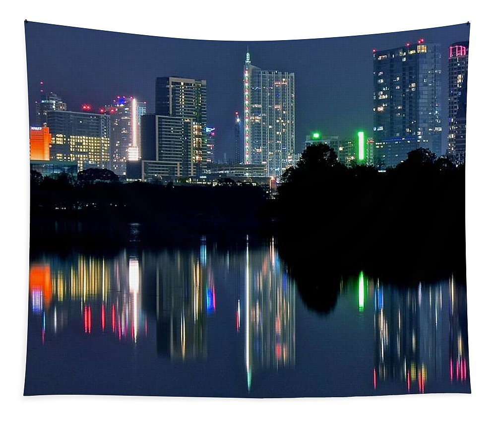 Austin Tapestry featuring the photograph Austin Reflects In Ladybird Lake by Frozen in Time Fine Art Photography