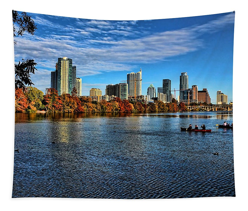 Austin Skyline Tapestry featuring the photograph Austin Skyline From Lou Neff Point by Judy Vincent