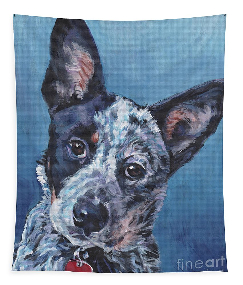 Australian Cattle Dog Tapestry featuring the painting Australian Cattle Dog by Lee Ann Shepard