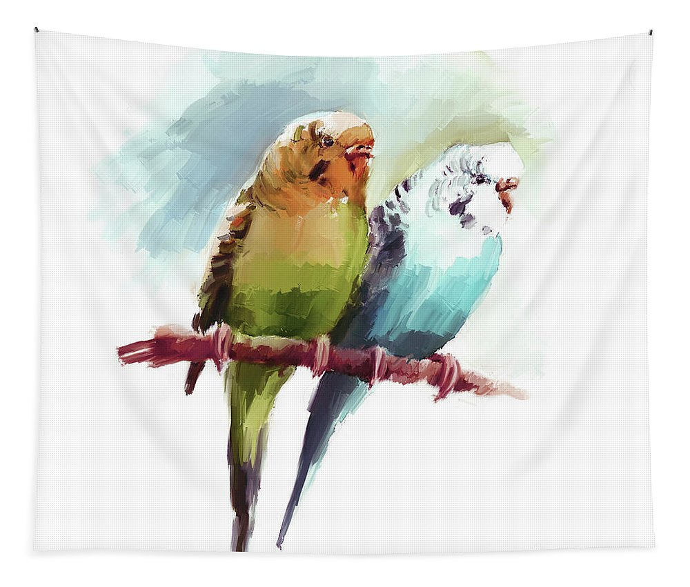 Watercolor Painting Tapestry featuring the painting Australian Parrots 03 by Gull G