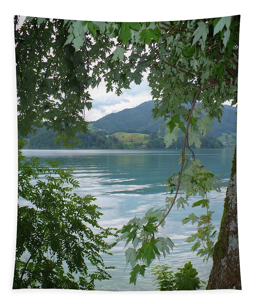 Austria Tapestry featuring the photograph Austrian Lake Through The Trees by Carol Groenen